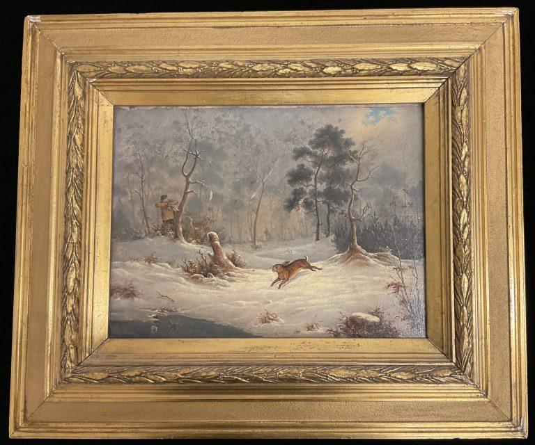 Jagdszene mit Hase • Antiquitäten