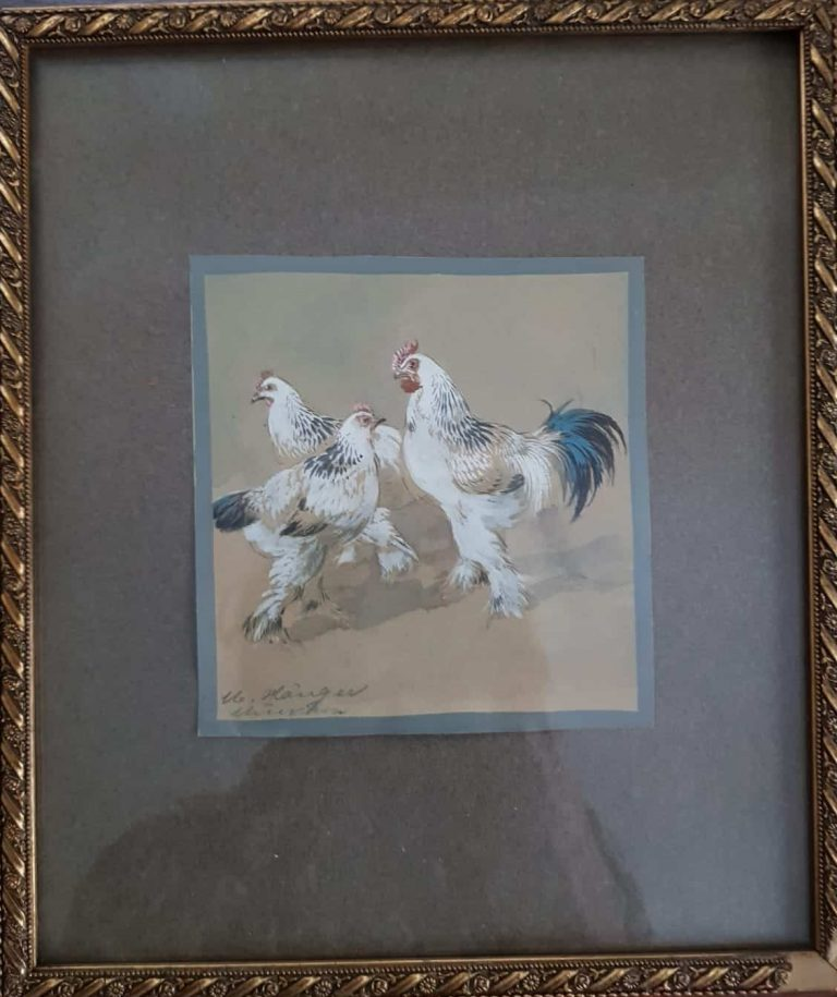 Max Hänger Bildnis mit Hühnern • Antiquitäten