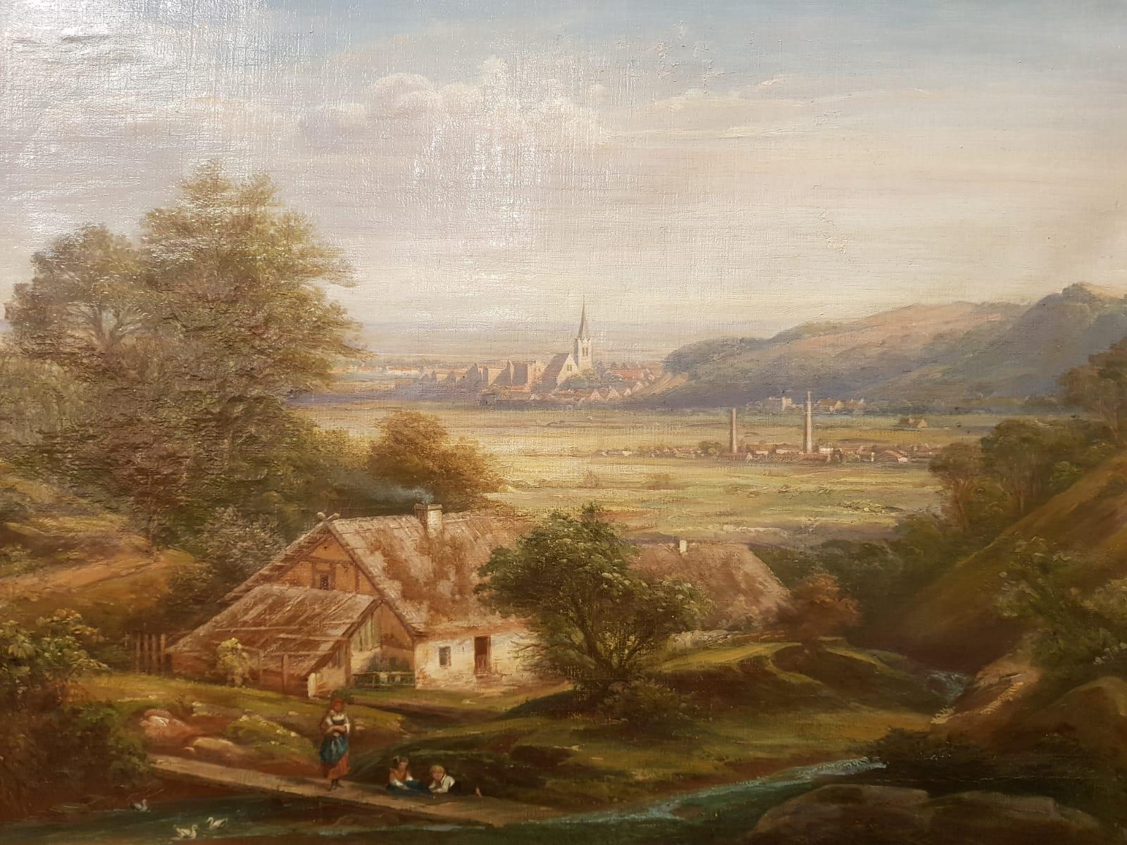 Landschaftsgemälde Industrialisierung • Antiquitäten