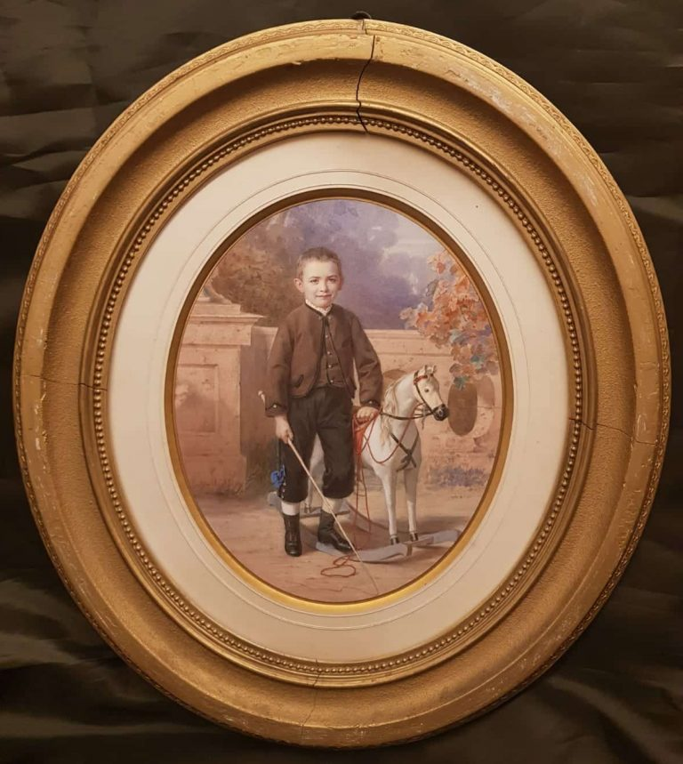 Porträt Junge mit Pferd • Antiquitäten