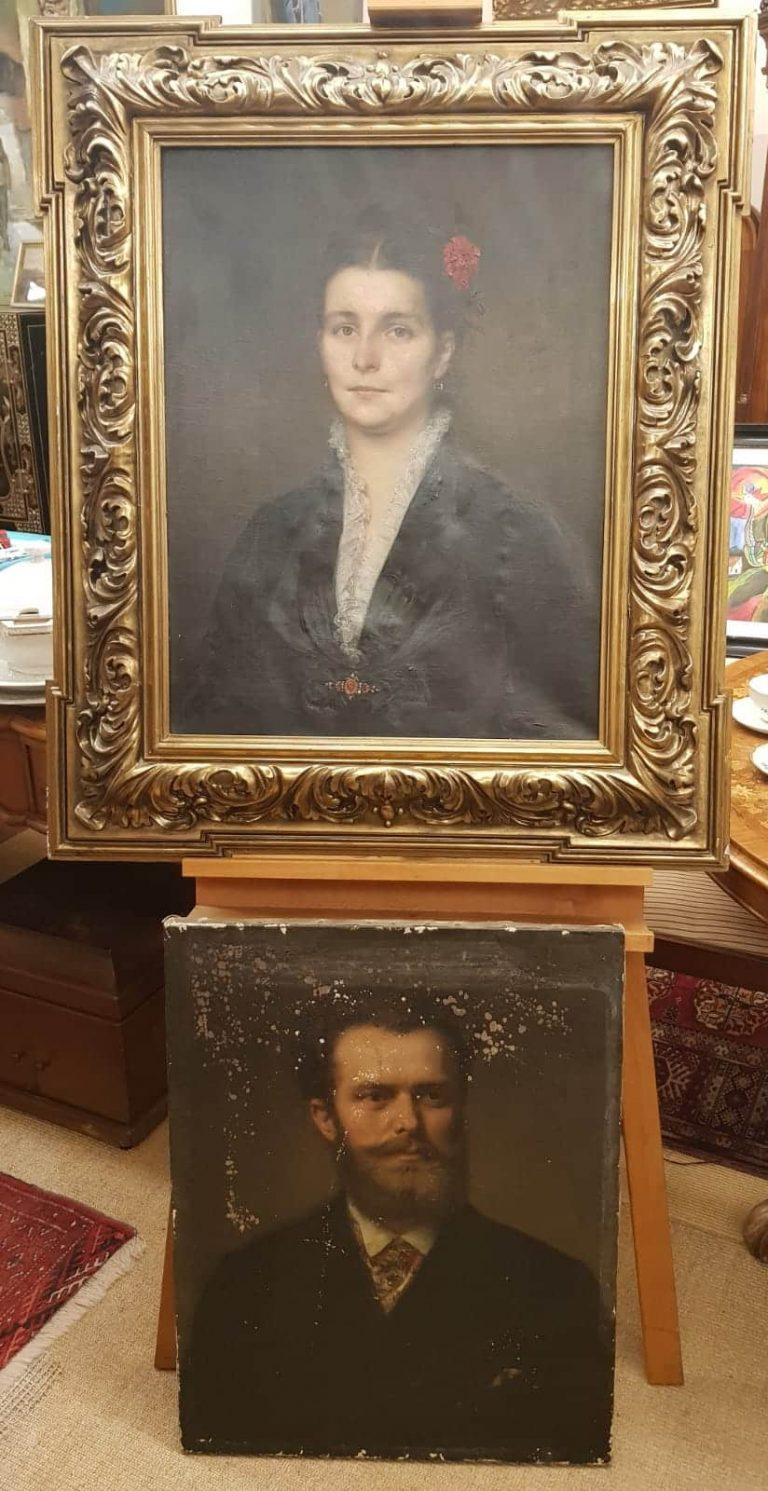 Ernst Hildebrand Zwei Porträts • Antiquitäten