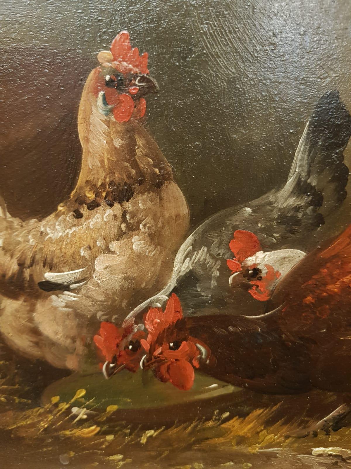 Gemälde mit Hühnern • Antiquitäten