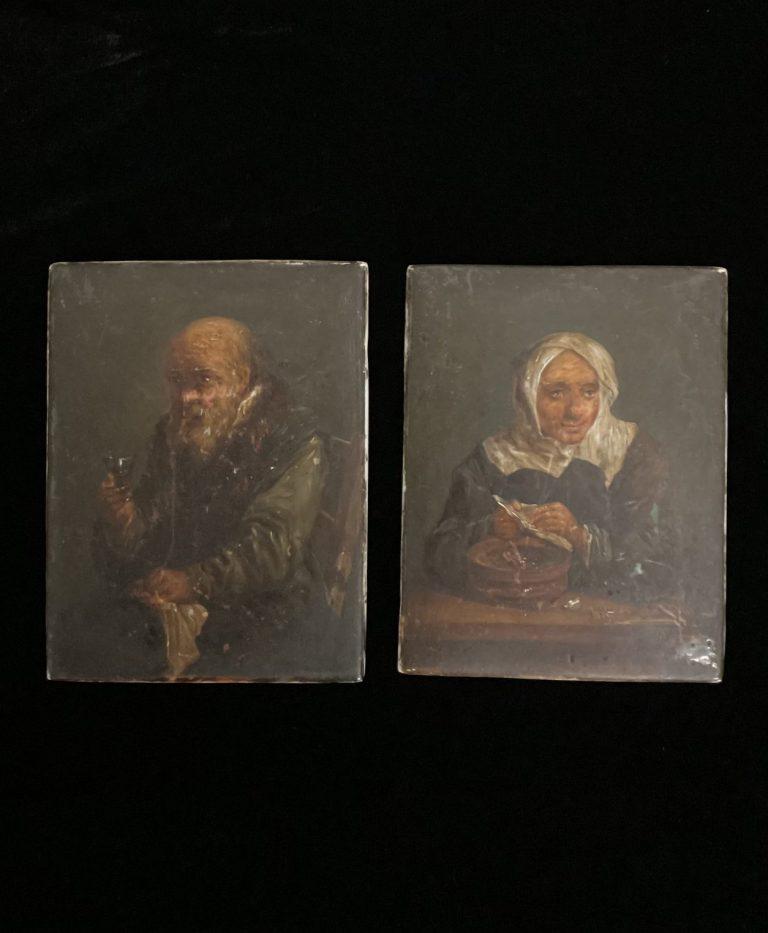 Zwei Halbporträts im Stile Rembrandts auf Porzellan • Antiquitäten