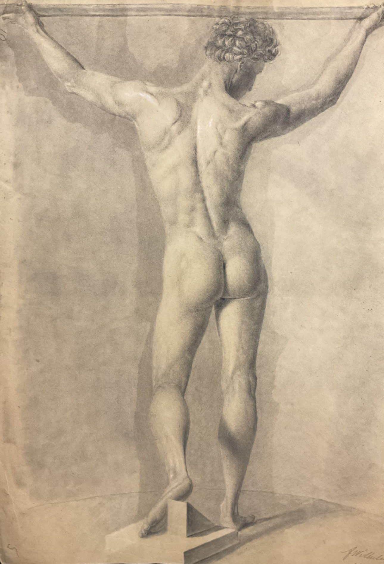 F. Wilhelmi Männerakt Rückansicht • Antiquitäten