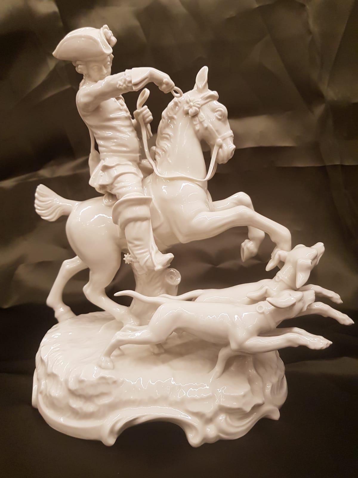Reiter mit Jagdhunden Nymphenburg • Antiquitäten