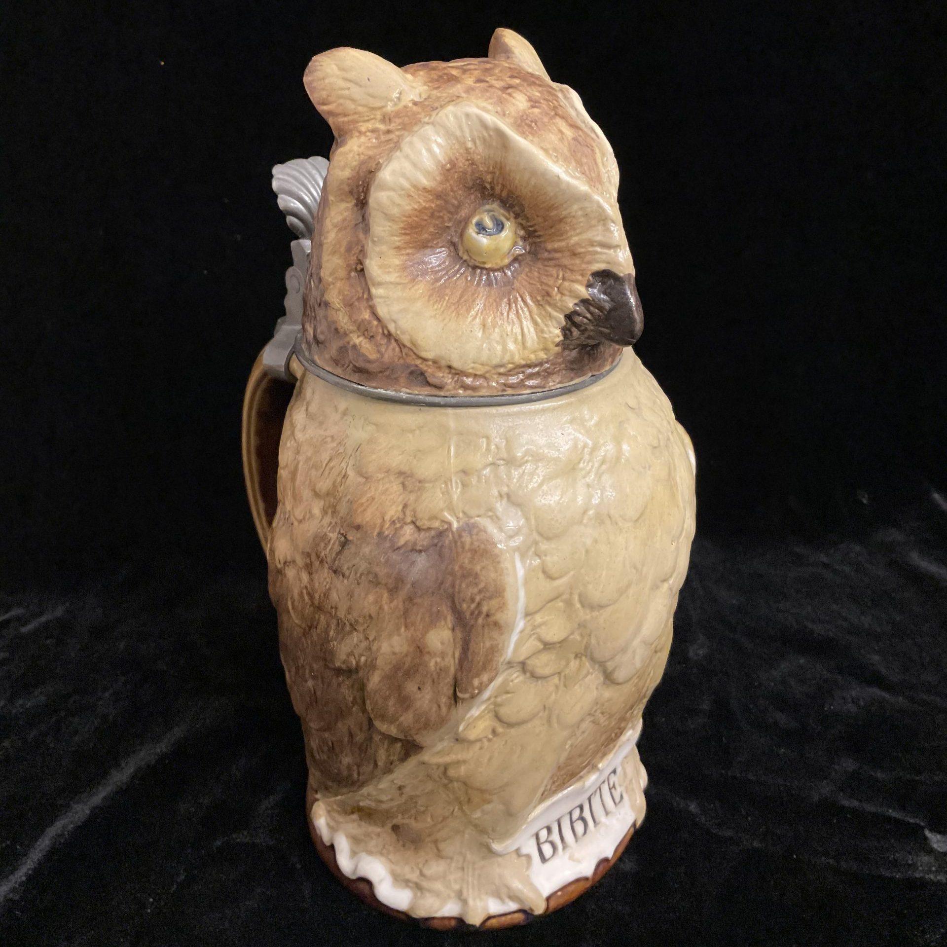 Trinkkrug Eule Villeroy&Boch Mettlach • Antiquitäten