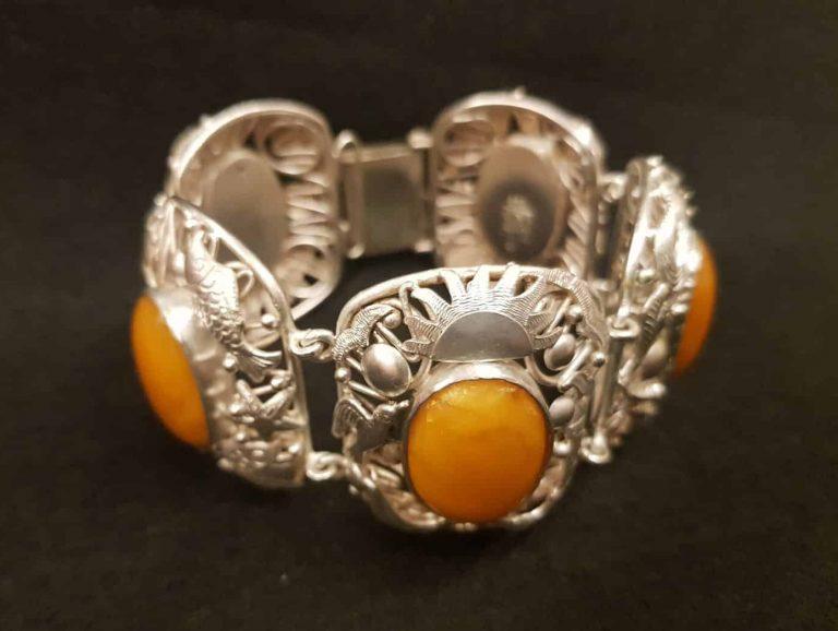 Bernstein-Silber-Armband Fischlandschmuck • Antiquitäten