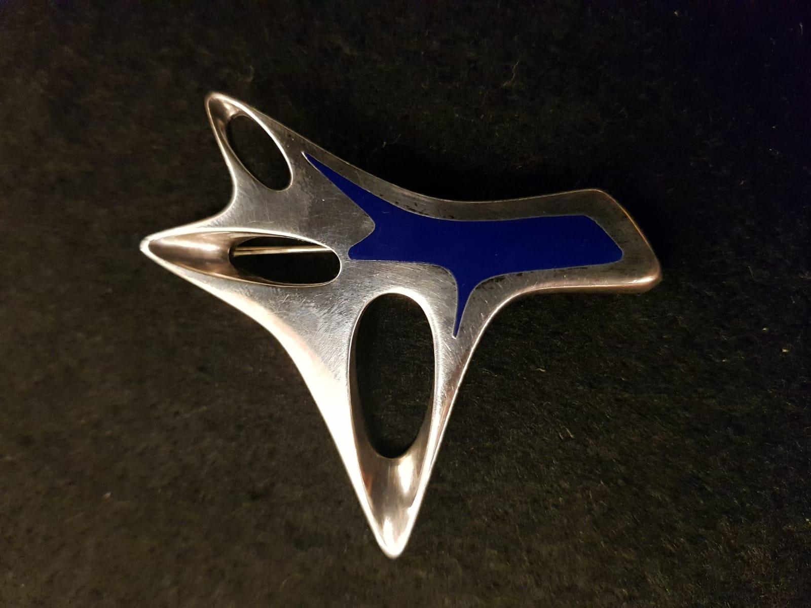 Silberbrosche Blaue Emaille Georg Jensen • Antiquitäten