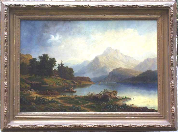 """Carl Ludwig Schmitz """"Gebirgslandschaft"""" • Antiquitäten"""