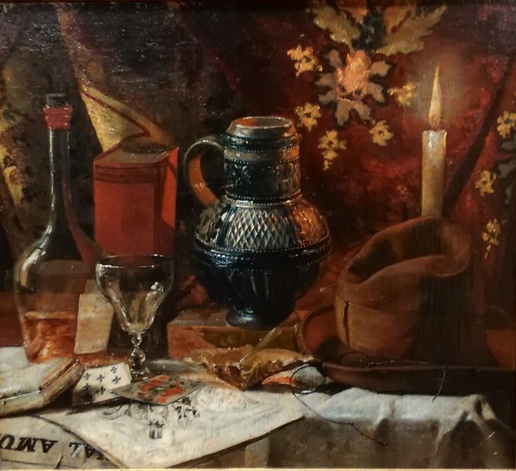 Stillleben mit Kerze und Accessoires • Antiquitäten
